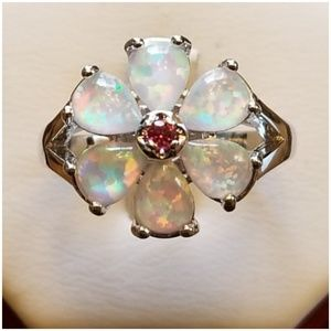 Jewelry - Fire Opal and Rubelite Ring Size 11 . 12